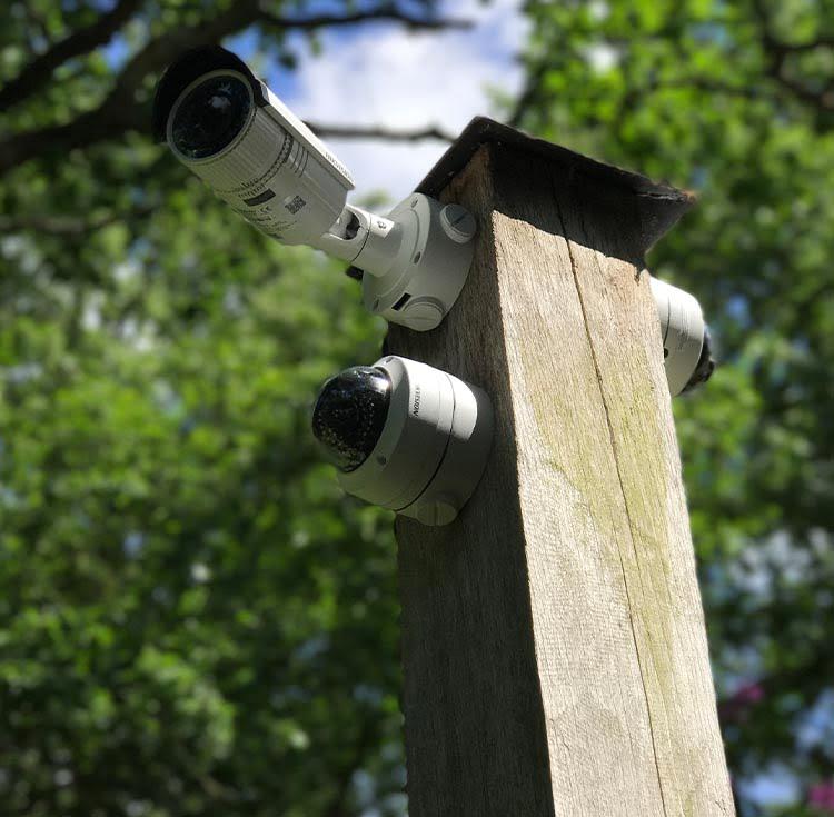 Farm security camera on a CCTV pole