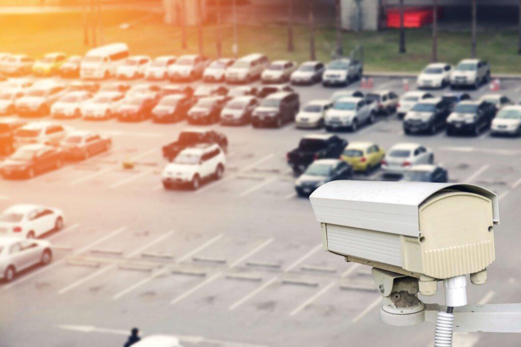 Car park CCTV surveillance cameras