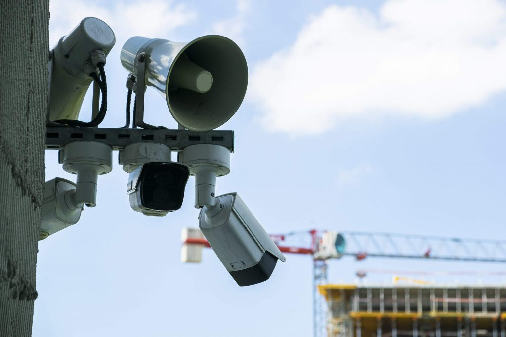 An advanced security system on a site including CCTV and audio intervention