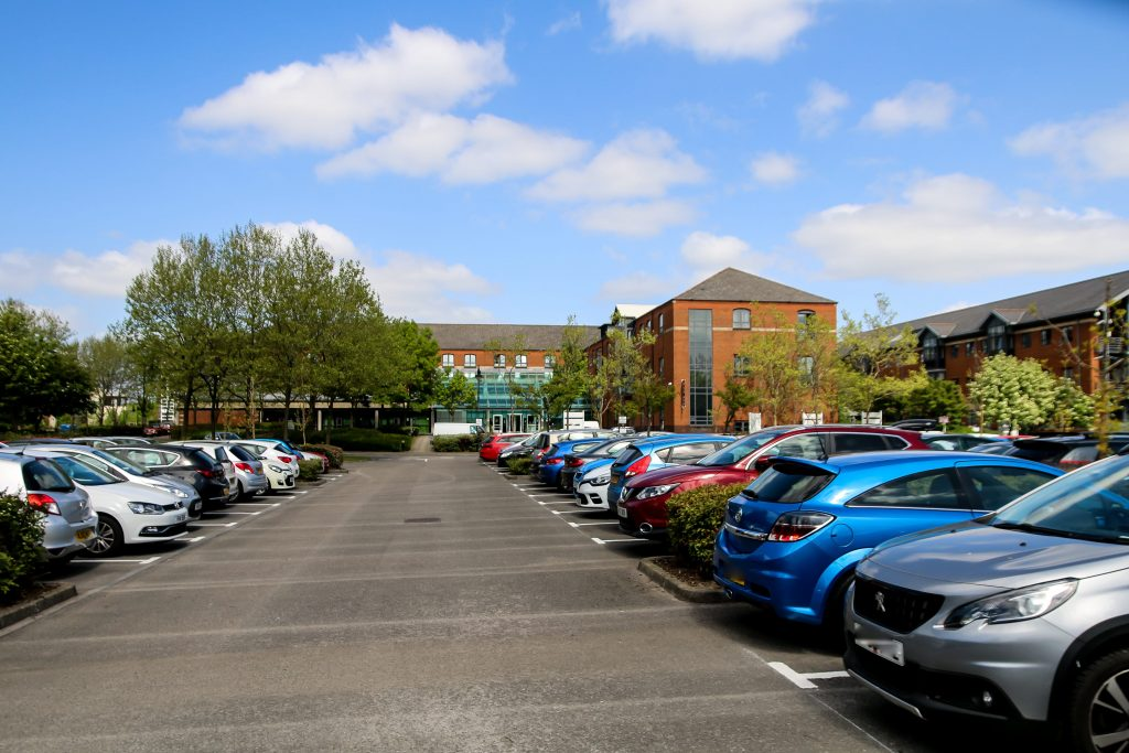 Office car park being protected by security systems