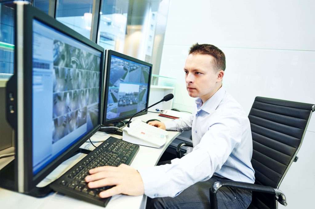 CCTV being monitored at a school
