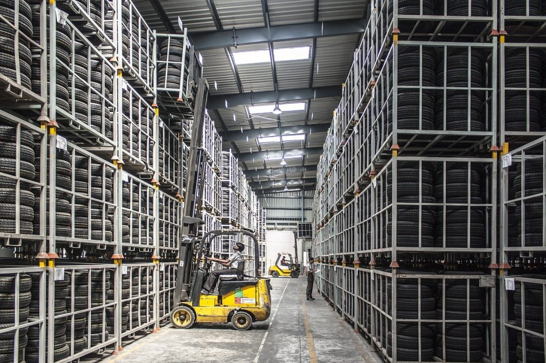 Warehouse CCTV footage of a man on a forklift